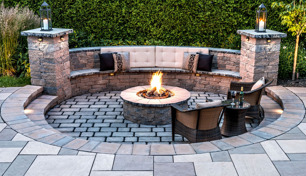 Outdoor Firepit and Seating Walls, Paver Patios