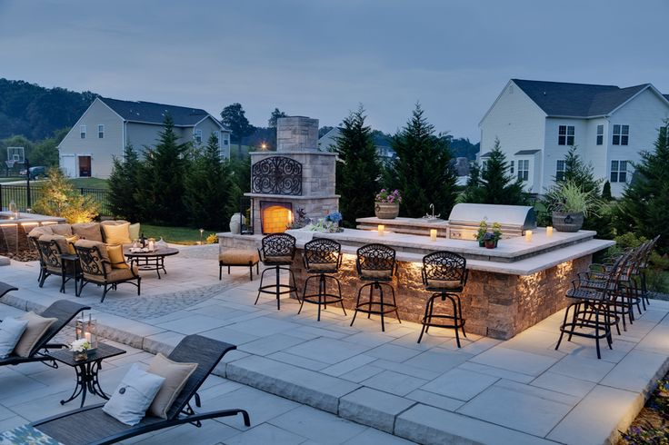 Outdoor Kitchen, Paver Patio, Outdoor Fireplace