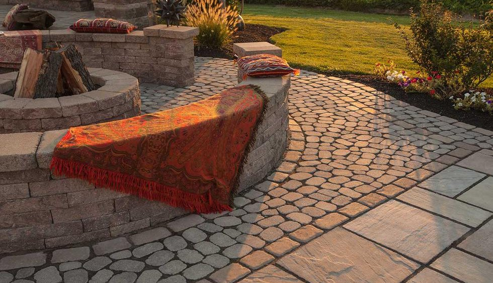 Outdoor Firepit, Paver Patios, Seating Walls