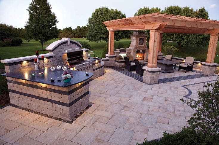 Outdoor Kitchen, Paver Patio, Pergola, Outdoor Fireplace