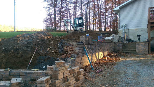 Failed Retaining Wall Being Repaired Bedford PA